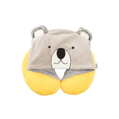 Love Taza Hooded Koala Kids' Neck Pillow - Yellow/Gray