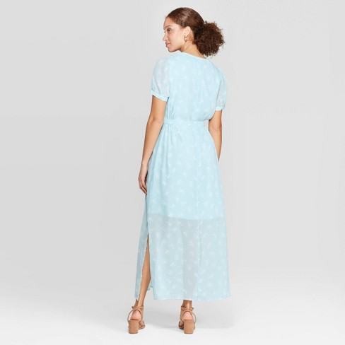 6ff6e789a6 Women s Floral Print Casual Fit Short Sleeve Deep V-Neck Chiffon Maxi Dress  - A New Day™ Turquoise