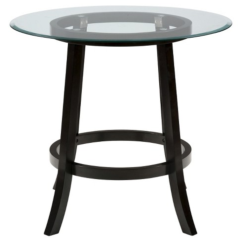 Aaron pub 42 round counter height table with glass top woodvery aaron pub 42 round counter height table with glass top woodvery dark brown jofran inc target watchthetrailerfo
