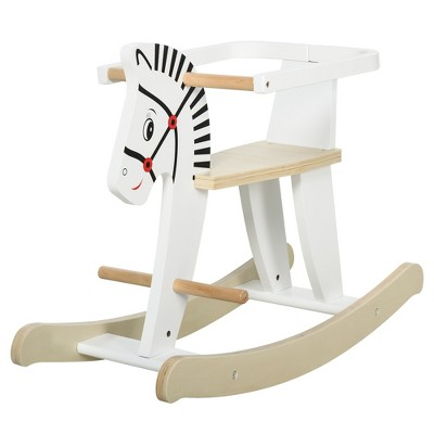 Qaba Wooden Rocking Horse Toddler Baby Ride-on Toys for Kids 3-6 Years with Classic Design & Wood Safety Bar White