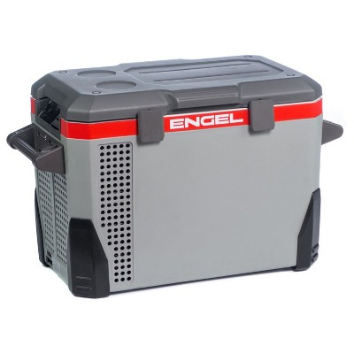 Engel 40-Quart 110/120V-AC 12/24V-DC Portable Top-Opening Tri-Voltage Car Fridge/Freezer with ABS Plastic Shell and Removable Handles, Gray