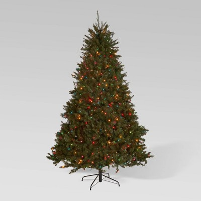 9ft Fraser Fir Pre-Lit Hinged Full Artificial Christmas Tree Multicolored Lights - Christopher Knight Home