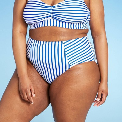 Women's Medium Coverage High Waist Bikini Bottom - Kona Sol™ Blue