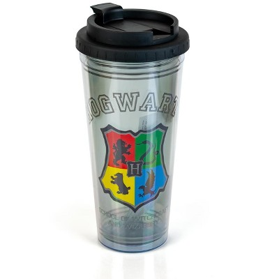 Silver Buffalo Harry Potter Hogwarts Crest 24oz Double Walled Plastic Travel Mug