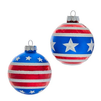 Kurt Adler 80MM Red, White and Blue Stars and Stripes Glass Ball Ornaments, 6 Piece Box