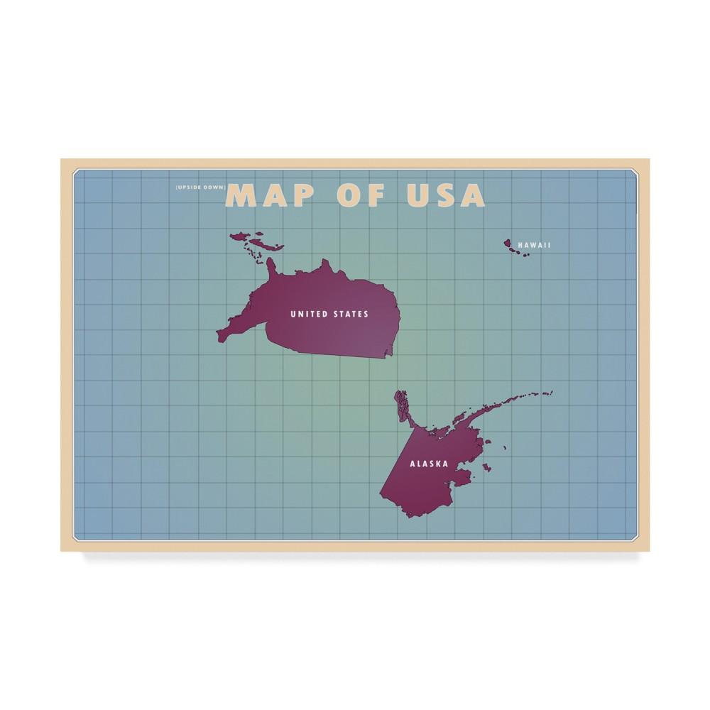 Best American Flat Upside Down USA Unframed Wall 22x32 Trademark Fine Art Multi Colored