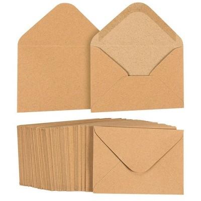 Juvale 100-Pack A1 Brown Kraft Paper Envelopes 5 x 3 Gummed Seal V-Flap for Invitation Greeting Cards