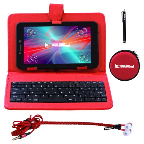 "LINSAY® 7"" Super Bundle 1024x600 HD Quad Core Dual Camera Android Tablet with RED Keyboard Earphones and Pen - image 1 of 3"