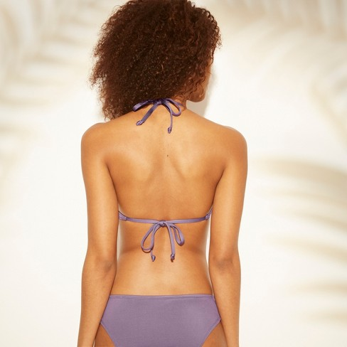 22561a08b8d2a Women's Strappy Halter Bikini Top - Shade & Shore™ Purple Steel : Target