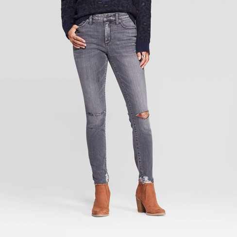 Women's Distressed High-Rise Skinny Jeans - Universal Thread™ Gray - image 1 of 4
