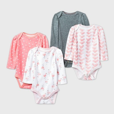Baby Girls' 4pk Flamingo Parade Long Sleeve Bodysuit - Cloud Island™ Pink/White/Gray 0-3M