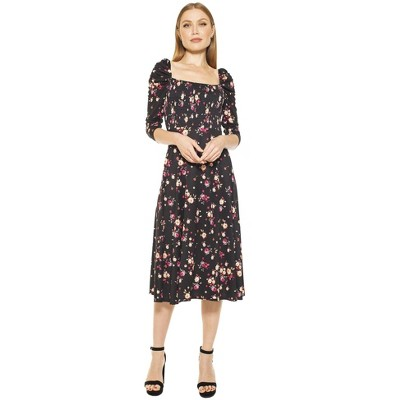Alexia Admor Lila Smocked Fit And Flare Puff Sleeve Dress