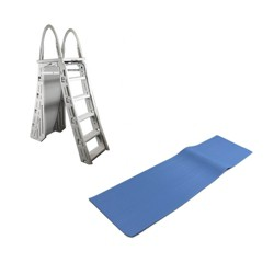Confer Heavy-Duty A-Frame Above Ground Pool Ladder And Protective Ladder Mat