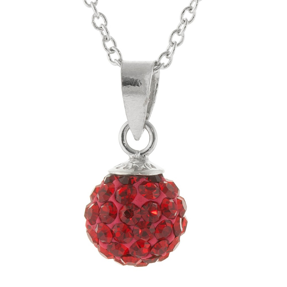 Womens Silver Plated 8mm Crystal Bead Pendant - Red/Silver (18) Best
