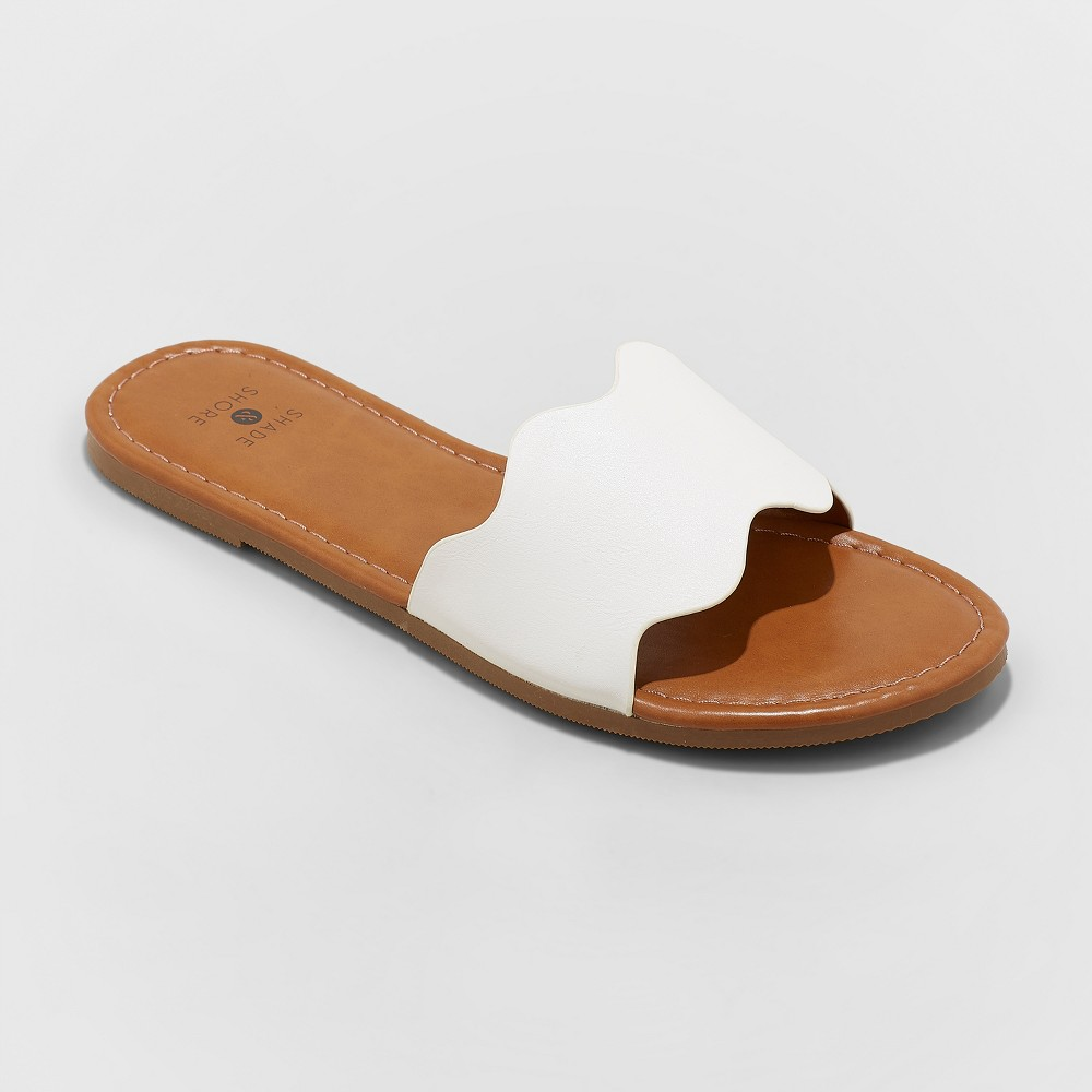 Women's Kate Scalloped Wide Width Slide Sandals - Shade & Shore White 8W, Size: 8 Wide