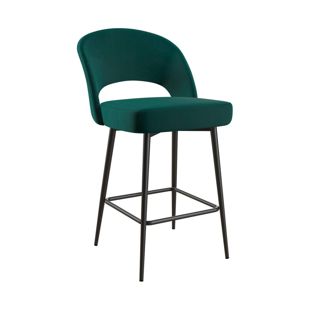 Image of Alexi Upholstered Counter Stool Emerald Green Velvet - Cosmoliving By Cosmopolitan, Green Green