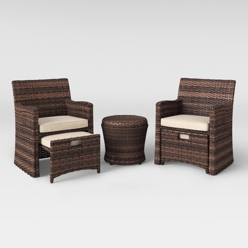 Halsted 5pc Wicker Patio Seating Set Tan Threshold