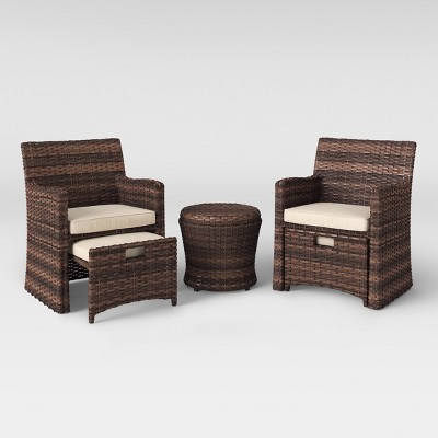 Halsted 5pc Wicker Patio Seating Set   Tan   Threshold™