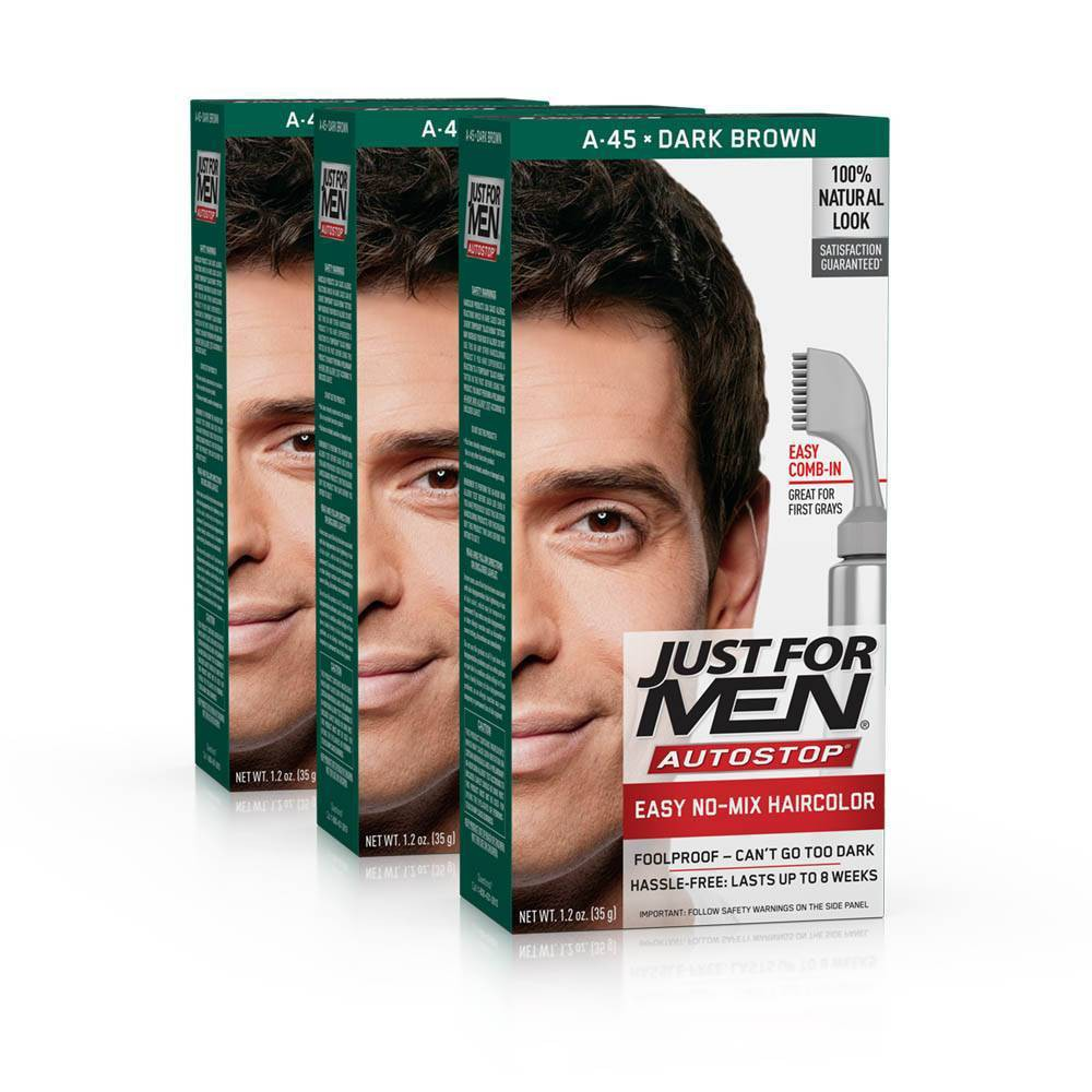 Image of Just For Men Auto Stop Dark Brown Permanent Hair Color - 3pk