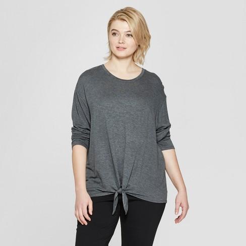 f59b64cc5fd Women s Plus Size Long Sleeve Tie Front T-Shirt - Ava   Viv™ Dark Heather  Gray
