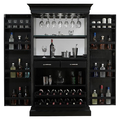 Angelina Wine Cabinet Wood/Black - American Heritage - image 1 of 5