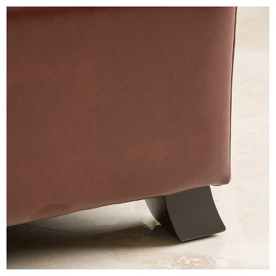 Cambridge Saddle Brown Bonded Leather Storage Ottoman Saddle Brown    Christopher Knight Home : Target