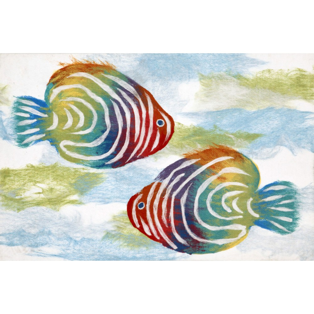 "Image of ""1'8""""X2' Fish Pressed Or Molded Accent Rug Off White - Liora Manne"""
