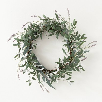 "26"" Artificial Olive/Eucalyptus Leaf with Lavender Wreath - Threshold™ designed with Studio McGee"