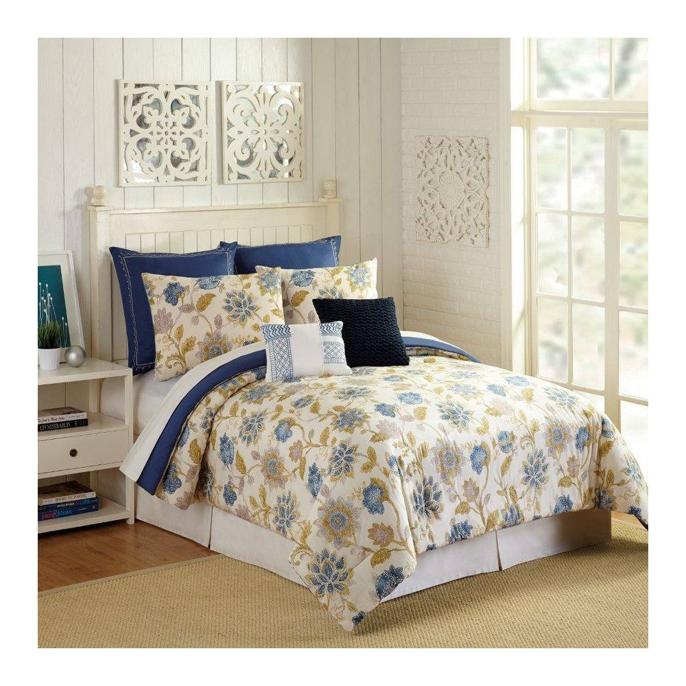 Image of Presidio Square King 7pc Monterey Comforter & Sham Set Ivory/Navy, Blue Beige Multicolored