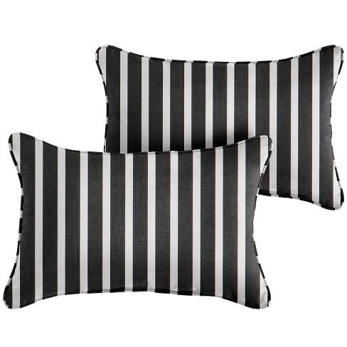 Outdoor Throw Pillows Black White