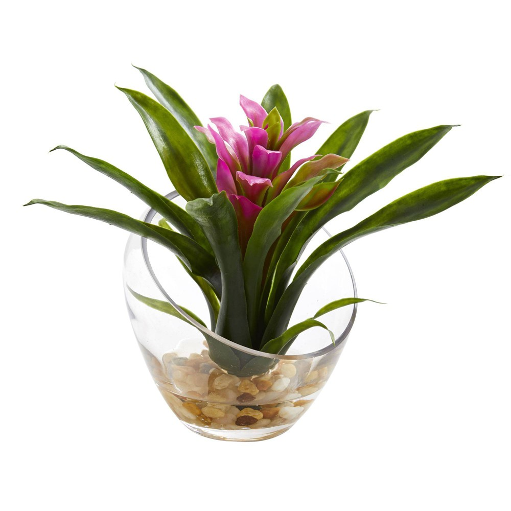 """Image of """"8"""""""" x 6"""""""" Artificial Tropical Bromeliad in Angled Glass Vase Purple/Green - Nearly Natural"""""""
