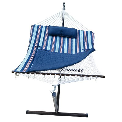 12' Cotton Rope Hammock, Stand, Pad & Pillow Combination Set - Blue - Algoma