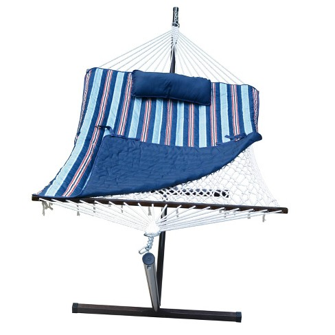 12' Cotton Rope Hammock, Stand, Pad & Pillow Combination Set - Blue - Algoma - image 1 of 4