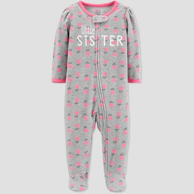 Baby Girls' Little Sis Floral Sleep 'N Play - Just One You® made by carter's Gray 3M