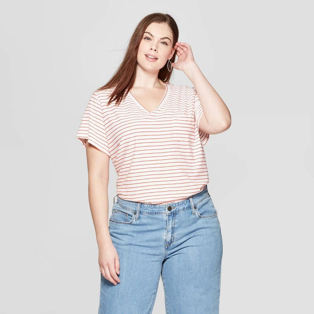 Women's Plus Size Striped Short Sleeve Pocket V-Neck T-Shirt - Universal Thread Orange 4X