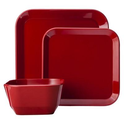 Square Dinnerware Set 12-pc. Melamine Red - Room Essentials™