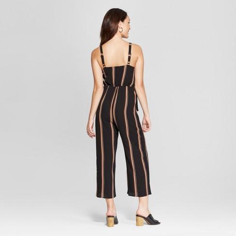 9ed79d683ce5 Women s Striped Sleeveless Zipper Front Jumpsuit - Almost Famous (Juniors )  Black   Target