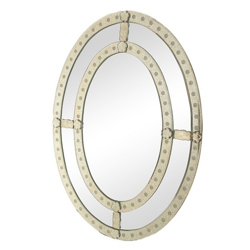 Oval Decorative Wall Mirror Antique Silver - Go Home - image 1 of 1