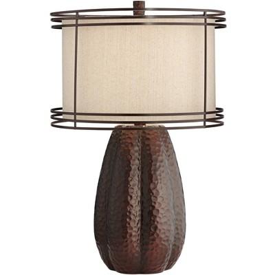 Franklin Iron Works Modern Industrial Table Lamp Hammered Bronze Jug Open Cage Burlap Drum Shade for Living Room Bedroom Bedside