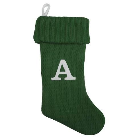 Letter Christmas Stockings.Letter A Green Knit Monogram Christmas Stocking Wondershop