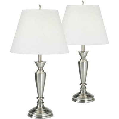 Barnes and Ivy Traditional Table Lamps Set of 2 Brushed Steel Candlestick White Linen Empire Shade for Living Room Family Bedroom