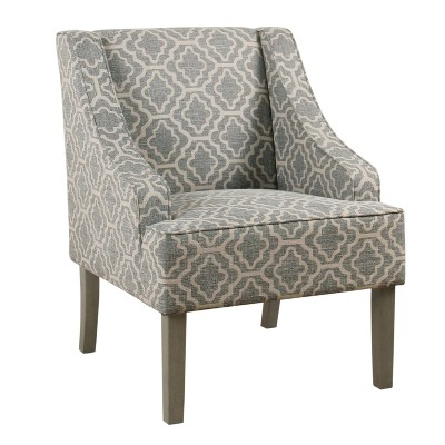 Classic Swoop Arm Chair Geometric Ash Gray - HomePop