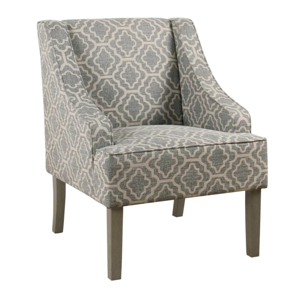 Image of Classic Swoop Arm Chair Geometric Ash Gray - HomePop, Grey Gray