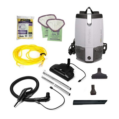 ProTeam 107461 ProVac FS 6 6 Quart Backpack Vacuum with Commercial Power Nozzle Tool Kit, Various Attachments, and 50 Foot Extension Cord