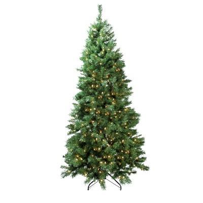 Northlight 7' Prelit Artificial Christmas Tree Slim LED Glacier Pine - Multicolor Lights