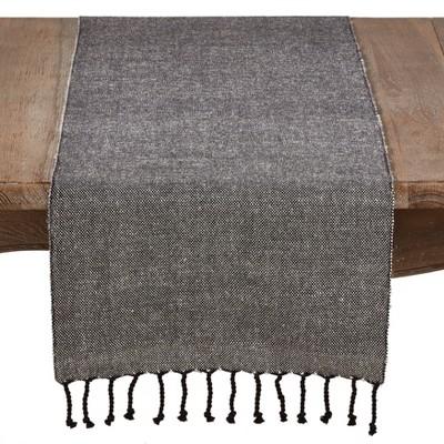 72 x16  Solid Tassel Design Cotton Blend Runner Black - Saro Lifestyle