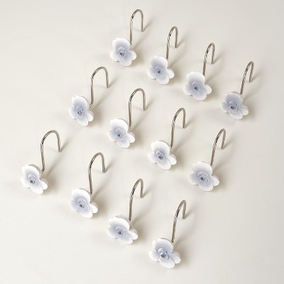Lakeside Set of 12 Floral Shower Curtain Hooks – Grey and White Cherry Blossom Flower