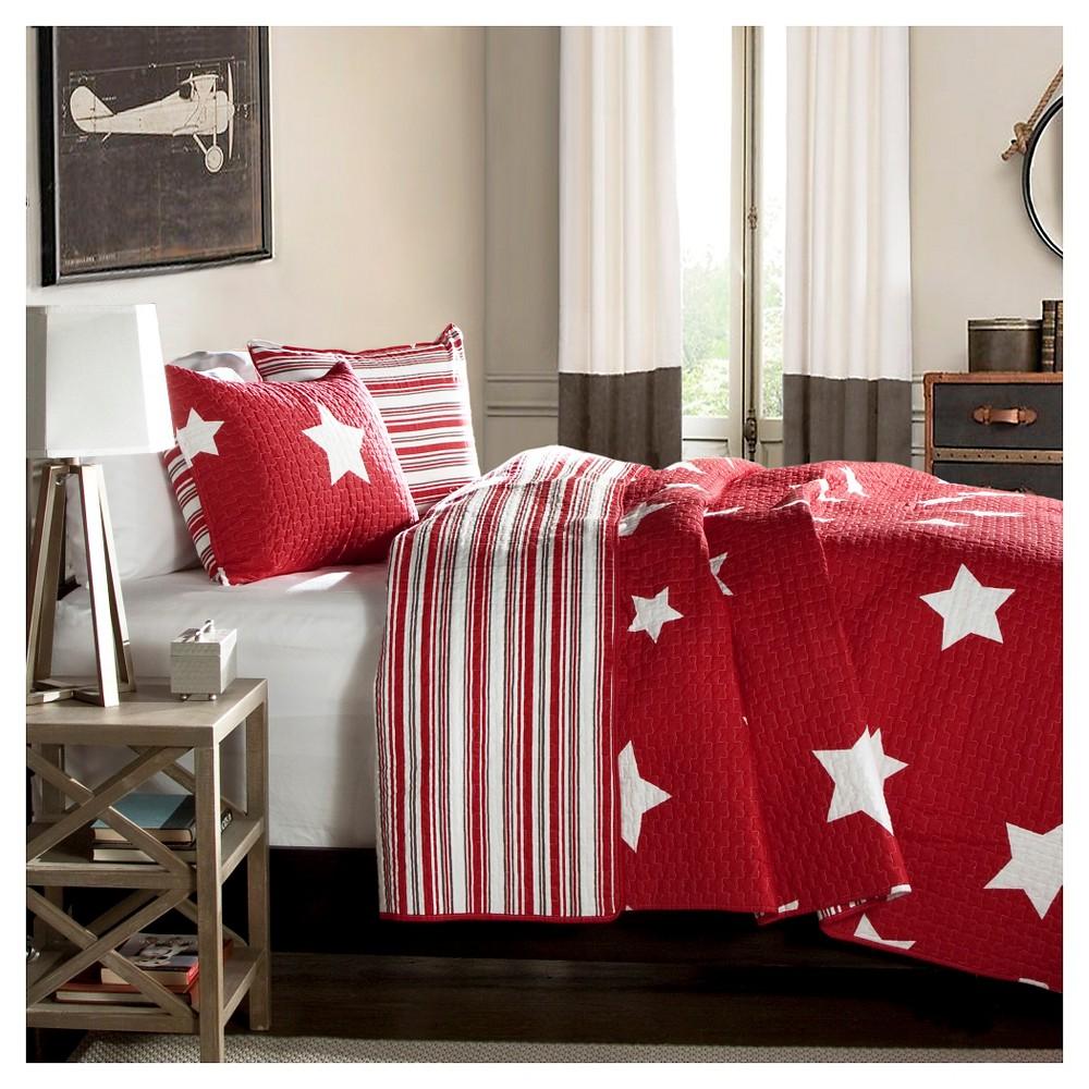 Lush Decor Star Quilt Set - Red (Full/Queen)