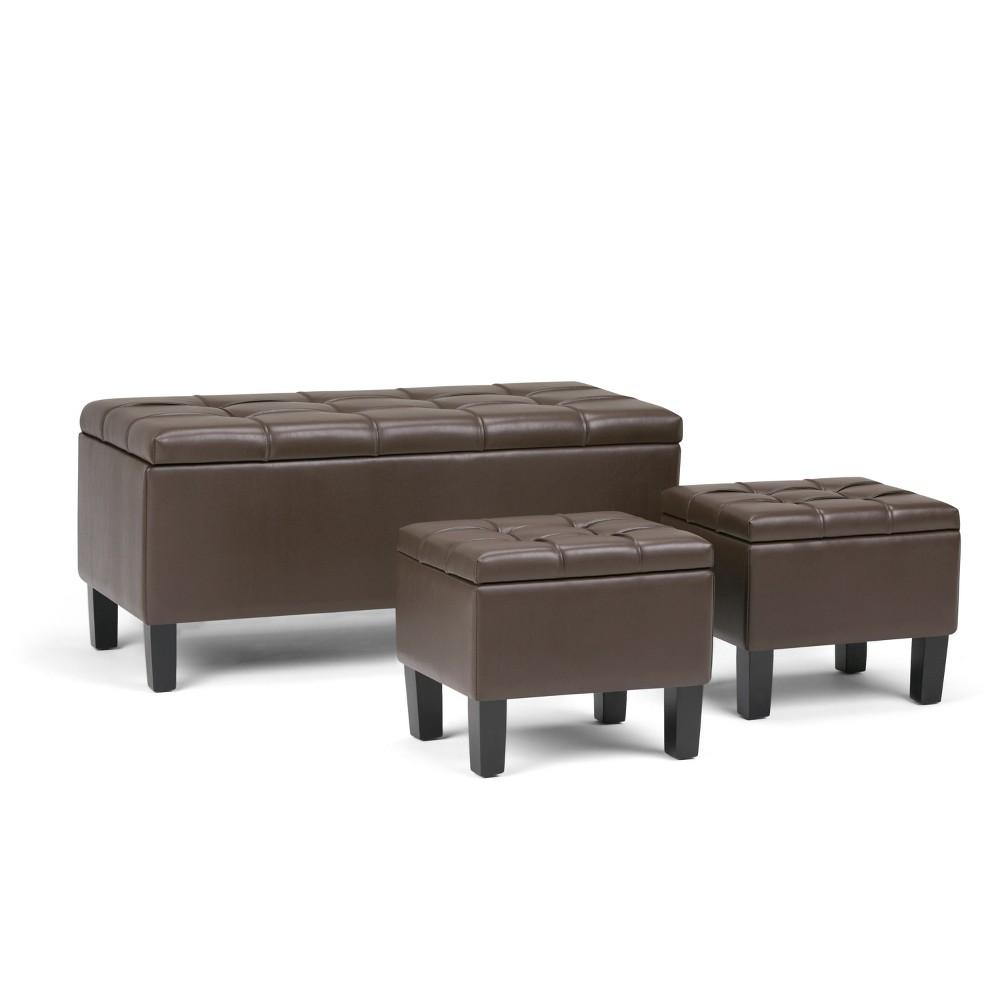 Lancaster 3pc Storage Ottoman Chocolate Brown Faux Leather - Wyndenhall