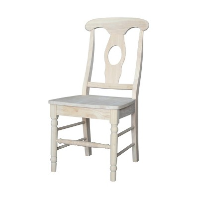 Set Of 2 Empire Chair With Solid Wood Seat Unfinished - International Concepts
